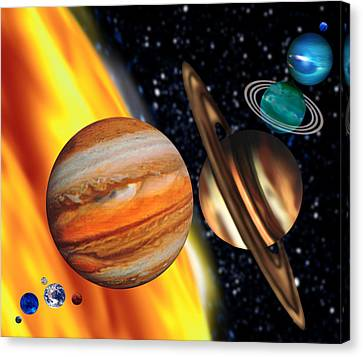 Computer Artwork Showing Relative Sizes Of Planets Canvas Print by Victor Habbick Visions