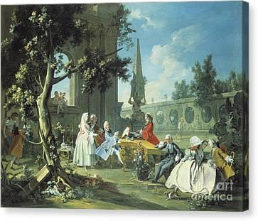 Concert In A Garden Canvas Print by Filippo Falciatore