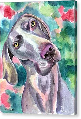 Cookie - Weimaraner Dog Canvas Print by Lyn Cook