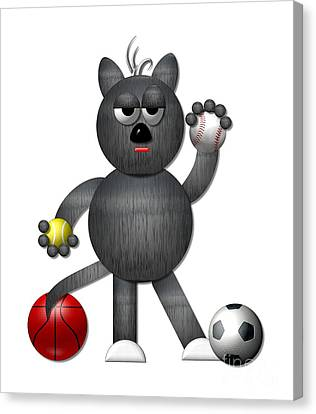 Cool Alley Cat Athlete Canvas Print by Rose Santuci-Sofranko