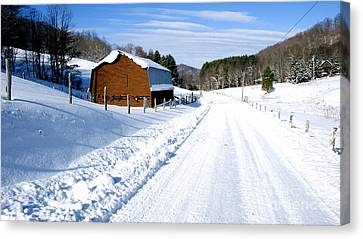 Coon Creek Road And Snow Canvas Print by Thomas R Fletcher
