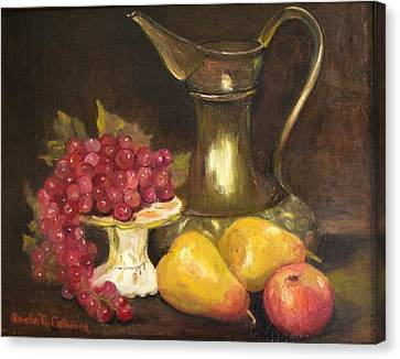 Copper Pitcher With Fruit Canvas Print by Aurelia Nieves-Callwood