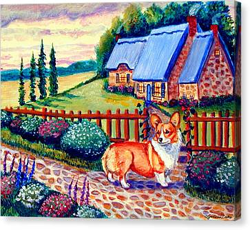 Corgi Cottage Home Fires Canvas Print by Lyn Cook
