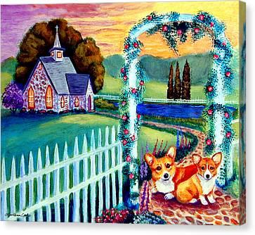 Corgi Cottage Sunday Canvas Print by Lyn Cook