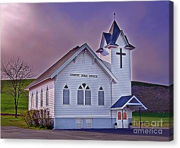 Country Church At Sunset Art Prints Canvas Print by Valerie Garner
