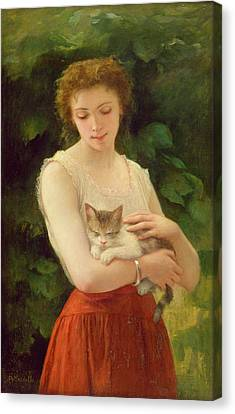 Country Girl And Her Kitten Canvas Print by Charles Landelle