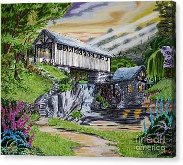 Covered Bridge Canvas Print by Robert Thornton