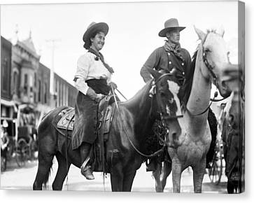 Cowboy And Cowgirl, C1908 Canvas Print by Granger