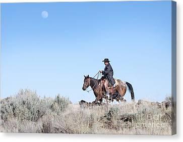 Cowboy Desert Moon Canvas Print by Cindy Singleton
