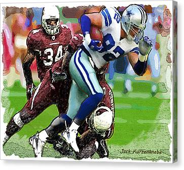 Cowboys Jason Witten Cardinals Tim Hightower Canvas Print by Jack K