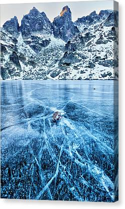 Cracks In The Ice Canvas Print by Evgeni Dinev
