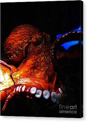 Creatures Of The Deep - The Octopus - V6 - Orange Canvas Print by Wingsdomain Art and Photography