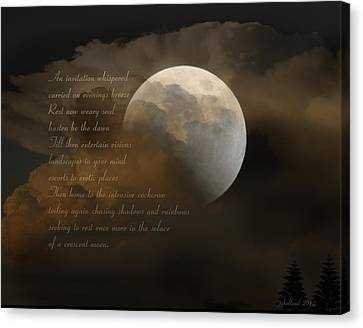Cresent Moon  Canvas Print by Joseph G Holland