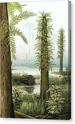 Cretaceous Tree Ferns, Artwork Canvas Print by Richard Bizley