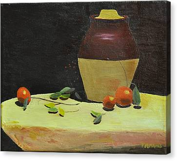 Crock With Fruit Canvas Print by Tom Amiss
