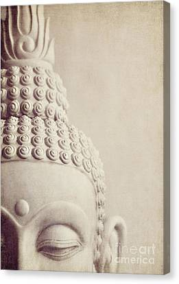 Cropped Stone Buddha Head Statue Canvas Print by Lyn Randle