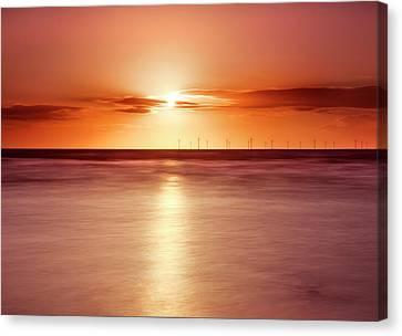 Crosby Beach In Sunset Canvas Print by Ian Moran