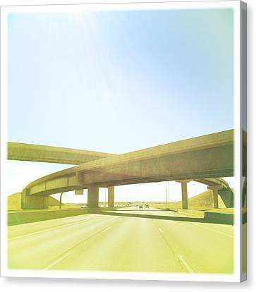 Cross Bridge Over Road Canvas Print by A L Christensen