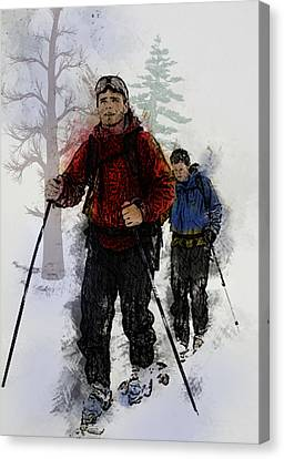 Cross Country Skiers Canvas Print by Elaine Plesser