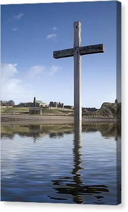 Cross In Water, Bewick, England Canvas Print by John Short