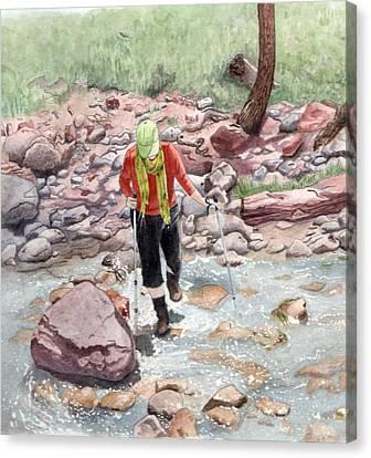 Crossing Virgin Stream Canvas Print by Inger Hutton