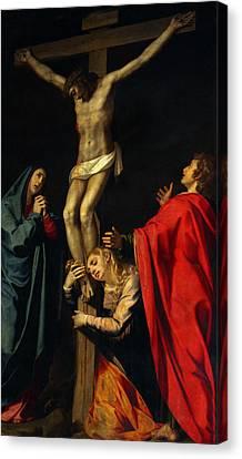 Crucification At Night Canvas Print by Munir Alawi