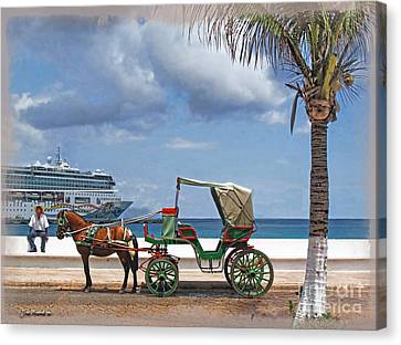 Waiting For Customers Canvas Print by Joan  Minchak