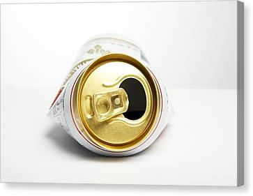 Crushed Beer Can Canvas Print by Victor De Schwanberg