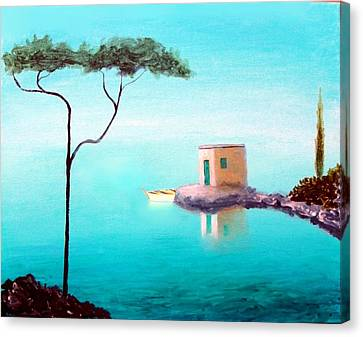 Crystal Waters On The Mediterranean Canvas Print by Larry Cirigliano