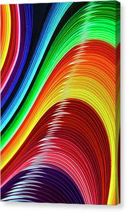 Curves Of Colored Paper Canvas Print by Image by Catherine MacBride