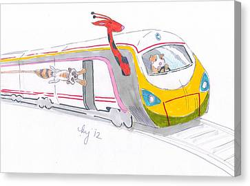 Cute Cartoon High Speed Train And Animals Canvas Print by Mike Jory