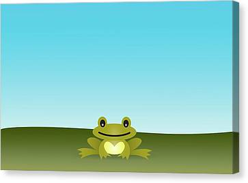 Cute Frog Sitting On The Grass Canvas Print by © Roctopus