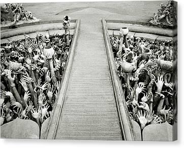 Cycle Of Rebirth At Wat Rong Khun In Thailand Canvas Print by Shaun Higson