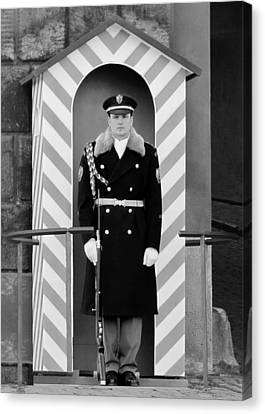Czech Soldier On Guard At Prague Castle Canvas Print by Christine Till