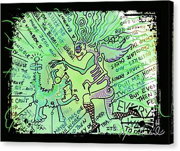 Dada Doodle In Green Canvas Print by Melissa Wyatt