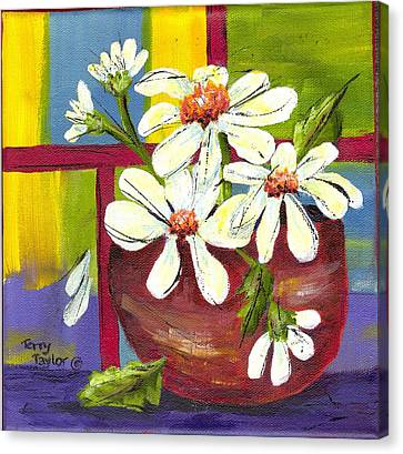 Daisies In A Red Bowl Canvas Print by Terry Taylor
