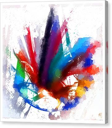 Dancing Peacock Canvas Print by Greta Thorsdottir