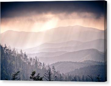 Dark Vista Over The Smokys Canvas Print by Pixel Perfect by Michael Moore