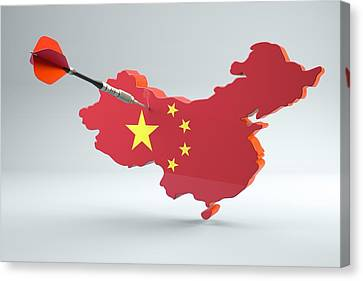Dart Arrow In A Shape And Ensign Of China Canvas Print by Dieter Spannknebel