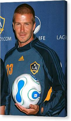 David Beckham At The Press Conference Canvas Print by Everett