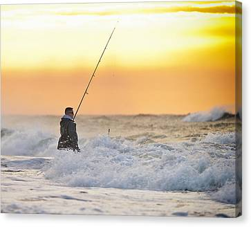 Dawn Fishing Canvas Print by Vicki Jauron