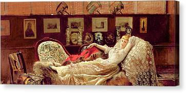 John Atkinson Grimshaw Canvas Print featuring the painting Day Dreams by John Atkinson Grimshaw