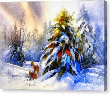 Deer In The Snowy Woods Canvas Print by Elizabeth Coats