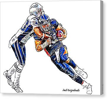 Denver Broncos Tim Tebow - New England Patriots Rob Ninkovich Canvas Print by Jack K