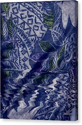Designs With Blues Canvas Print by Anne-Elizabeth Whiteway