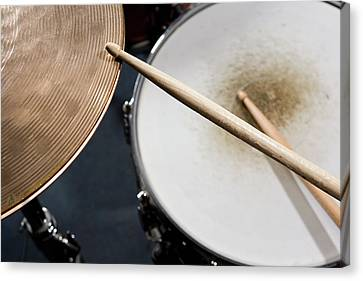 Detail Of Drumsticks And A Drum Kit Canvas Print by Antenna