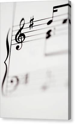 Detail Of Sheet Music Canvas Print by Junior Gonzalez