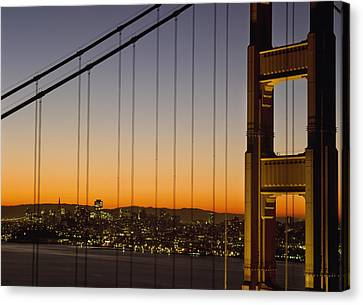 Detail Of The Golden Gate Bridge At Canvas Print by Axiom Photographic