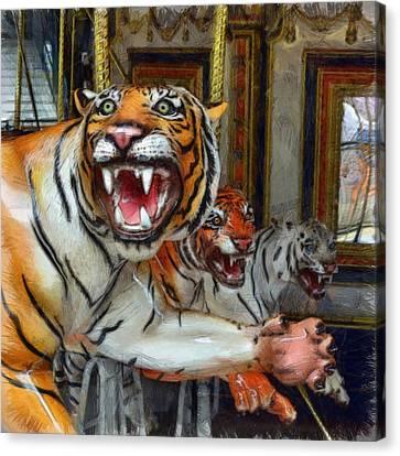 Detroit Tigers Carousel Canvas Print by Michelle Calkins