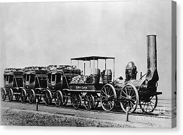 Dewitt Clinton Locomotive And Cars Canvas Print by Omikron